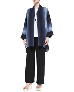Wide Scrunch-Collar Shawl Jacket, Sleeveless A-Line Shell, Necklace & Linen Drawstring Trousers
