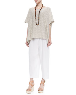 Mid-Length Cotton/Linen Caftan, Coco Rajado Single Necklace & Linen Japanese Trousers