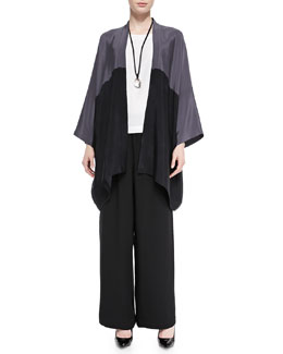 Open-Front Colorblock Silk Jacket, Pendant Necklace, Sleeveless A-Line Shell & Flared Trousers