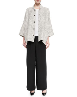Long Slope-Shoulder Jacket, Sleeveless A-Line Shell & Flared Trousers