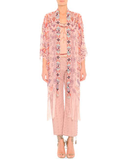 Zigzag-Print Beaded Chiffon Jacket, Lace-Trim Beaded Camisole & Arrow-Cut Fringed-Edge Jeans