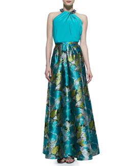 Toga-Inspired Top with Beaded Neckline & Floral Printed Charmeuse Ball Skirt