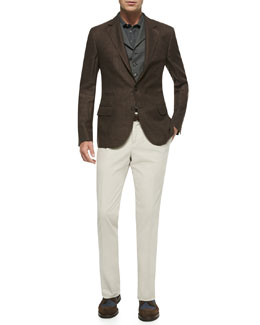 Glen Plaid Jacket, 6-Button Wool Waistcoat, Fine Pique Knit Polo Shirt & Woven Single-Pleated Pants