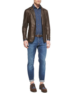 Leather Three-Button Blazer, Denim Polka-Dot Long-Sleeve Sport Shirt & Slim-Fit Selvedge Denim Jeans