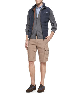 Nylon Zip-Down Vest, 7-Gauge Knit Bomber Sweater Jacket & Linen Cargo Shorts