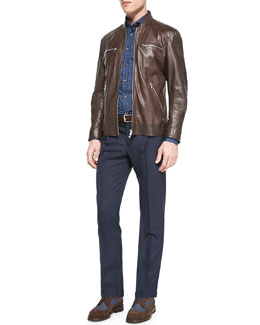 Leather Pilot Jacket, Denim Polka-Dot Sport Shirt & Single-Pleat Wool Trousers