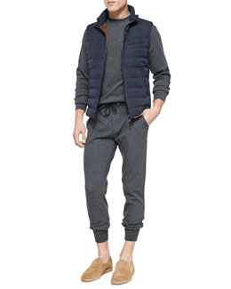 Nylon Zip-Down Vest, Spa Crewneck Knit Sweater & Cotton-Blend Knit Spa Pants