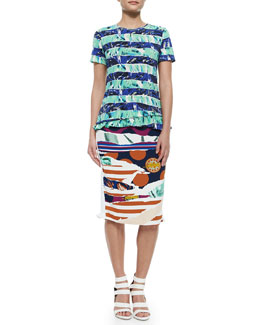 Short-Sleeve Flower Top & Torn-Paper-Print Pencil Skirt