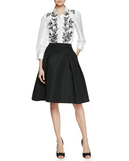 Flower Petal-Embroidered Blouse & Silk Faille Party Skirt