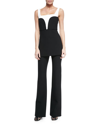 Contrast-Inset Crepe Top & Flare-Leg Front-Pocket Trousers
