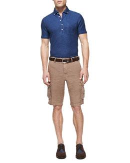 Button-Down-Collar Polo Shirt & Linen Cargo Shorts