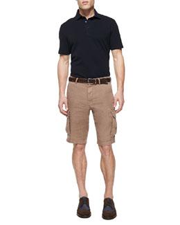 Fine Pique-Knit Polo Shirt & Linen Cargo Shorts