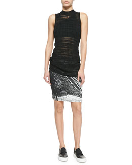 Sheer Sleeveless Long Fitted Sweater, Double-Strap One-Shoulder Bra & Method Printed Jersey Pencil Skirt