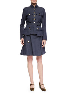 Four-Pocket Military Button Jacket & Belted Pocket Flounce Skirt