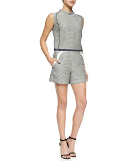 Barbara Check-Pattern Sleeveless Top & Barbara Check Wide-Leg Shorts