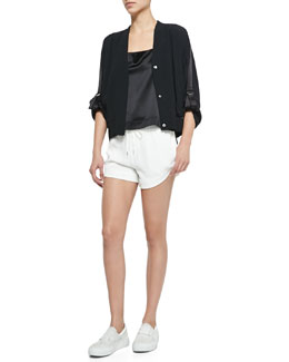 Blaze Knit Snap-Front Jacket, Mere Silk Charmeuse Racerback Top & Blaze Drawstring Shorts with Shirred Waistband