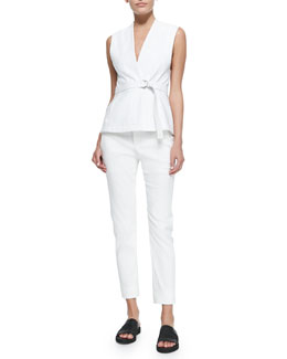 V-Neck Belted Twill Vest & Straight-Leg Cotton-Blend Pants
