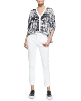 Printed Lightweight Cropped Blouse & Straight-Leg Cotton-Blend Pants