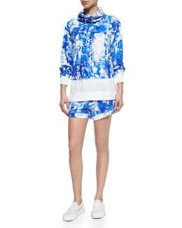 Axio Top with High-Low Hem, Villous Printed Scriber Knit Jacket & Drawstring Shorts