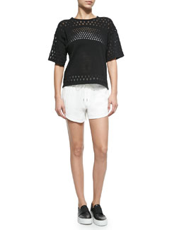 Burnout-Pattern Boxy Top & Blaze Drawstring Shorts with Shirred Waistband