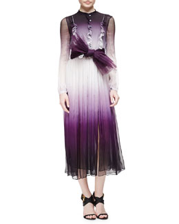 Degrade Ruffled Mulberry Silk Dress & Pleated Tulle Belt