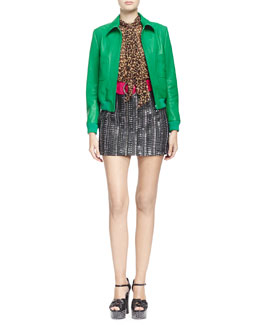 Short Zip-Front Leather Jacket, Long-Sleeve Leopard Print Georgette Blouse & High-Waisted Embroidered Leather Skirt