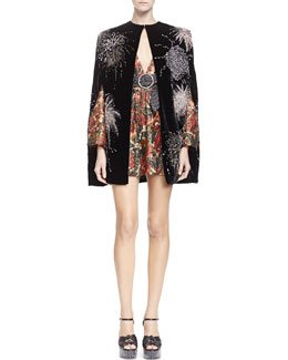 Velvet Cape with Allover Embroidery, Floral-Print Plunge-Neck Dress & Embellished Leather Belt with Round Buckle