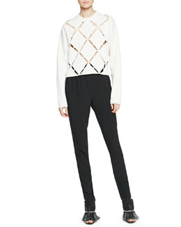 Cutout Argyle-Front Knit Sweater & Belted Crepe Track Pants