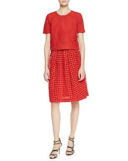 High-Waisted Cutwork Embroidered Short-Sleeve Shirt & Skirt