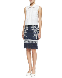 Cisco Sleeveless Point-Collar Blouse & Helen Embroidered Denim Pencil Skirt