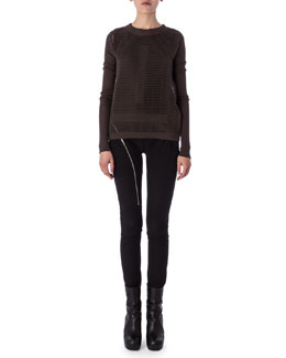 Aircut Moderate-Rise Leggings in Stretch Knit, Tunica Samincata Sleeveless Tunic & Crew Neck Sweater in Cutout Knit