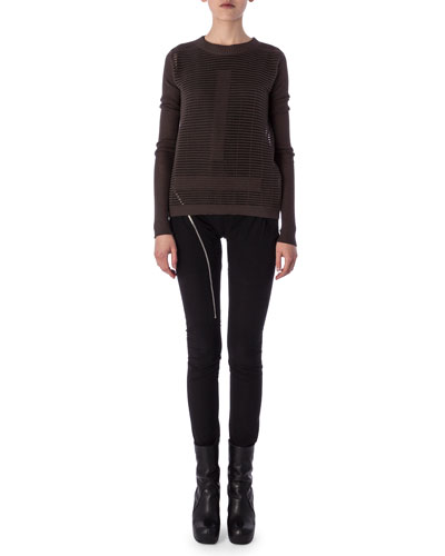 Aircut Moderate-Rise Leggings in Stretch Knit, Tunica Samincata Sleeveless Tunic & Crew Neck Sweater in Cutout Knit