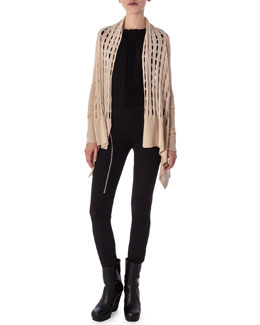 High-Low Cardigan in New Wool Knit, Aircut Moderate-Rise Leggings in Stretch Knit & Tunica Samincata Sleeveless Tunic