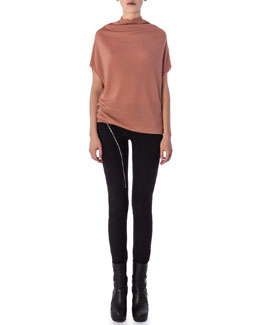 Aircut Moderate-Rise Leggings in Stretch Knit & Cap-Sleeve Crater Shirt with Draped Neckline