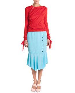Side-Button Sweater W/ Tie Cuffs & Button-Side Flounce Skirt
