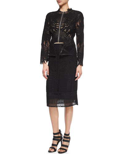 Guipure Patch-Lace Jacket & Floral-Detailed Paneled Lace Pencil Skirt
