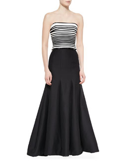 Striped Strapless Crop Top & Long Pleated Trumpet Skirt