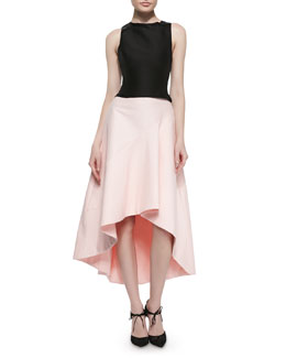 Structured Crop Top with Back Cutout & Full Skirt with High-Low Hem