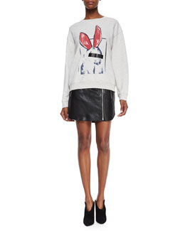 Classic Sweatshirt with Bunny Graphic & Leather Zip Biker Skirt