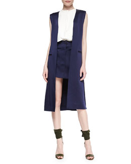 Long Side-Slit Vest, Sleeveless Double-Layer Shell & Patch-Pocket A-Line Skirt