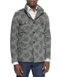 Paisley-Print Safari Jacket & Plaid-Print Long-Sleeve Sport Shirt