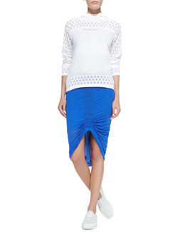 Graphic Burnout Knit Top & Film-Weight Ruched Slub Skirt