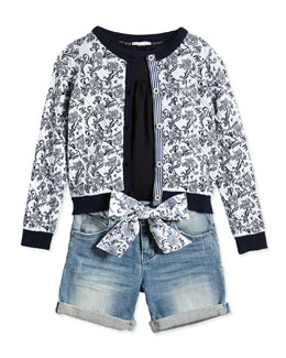 Floral-Print Cardigan, Tunic & Denim Shorts
