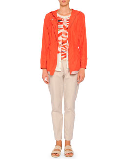 Hooded Painted Trimmed Anorak, Cashmere-Blend Wave-Print Cardigan, Cashmere-Blend Wave-Print Sweater & Kim Polished Poplin Ankle Pants