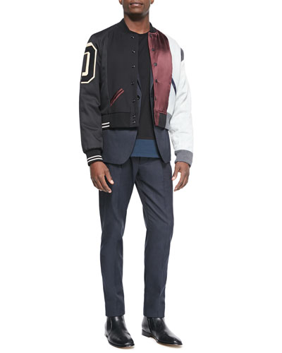 Multi Matchwork Varsity Jacket, Cotton-Blend Two-Button Jacket, Crewneck Colorblock Tee & Slim-Fit Woven Trousers