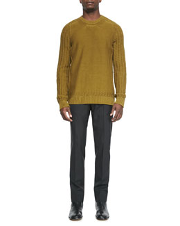 Crewneck Sweater with Cutout Hem & Slim Tropical-Wool Trousers