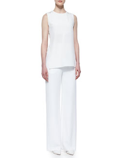Side Cutout Crepe Top & High-Waisted Yoked Wide-Leg Pants