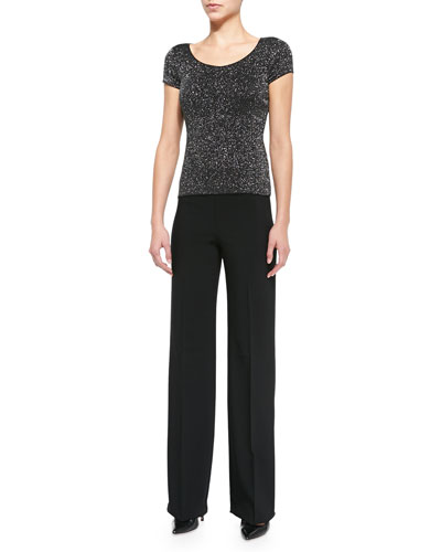 Glitter Jersey Cap-Sleeve Tee & Wide-Leg Crepe Pants