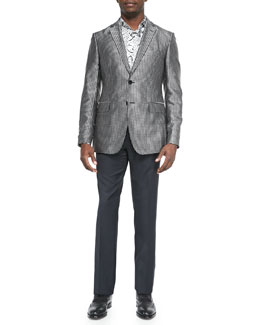 Square-Jacquard Evening Jacket & Satin-Stripe Wool Tuxedo Trousers