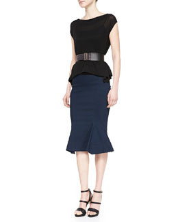 Matte Jersey Cap-Sleeve Tee, Jersey Fit-And-Flare Skirt & 2